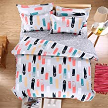 Graffiti Grey Bedding Set Duvet Cover Pillow Sham Flat Sheet Teen Kids Boys Girls Bedding, Twin Size