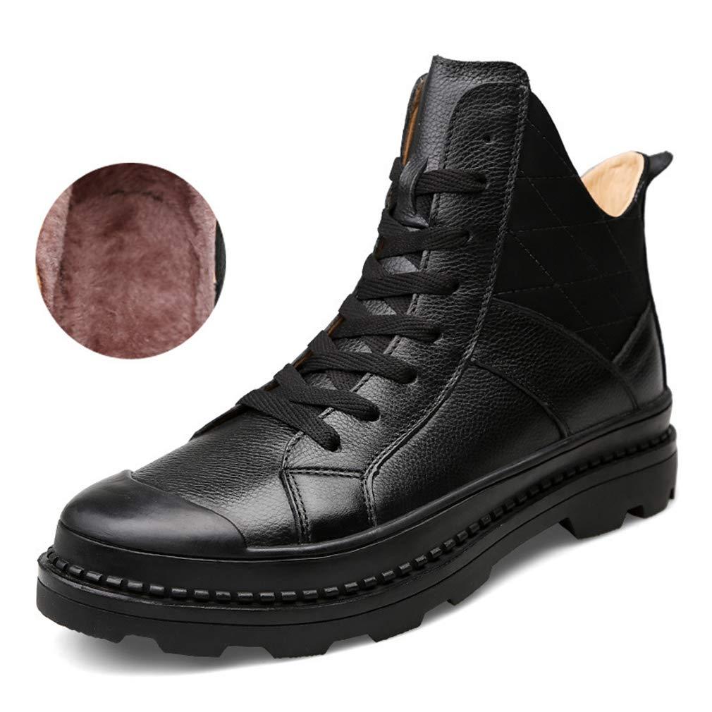 YAN Herrenschuhe Leather Winter Martin Stiefel Lässige High-Top-Lederstiefel Plus SAMT Warme Baumwoll Schuhe Rutschfeste Radschuhe,schwarz,42