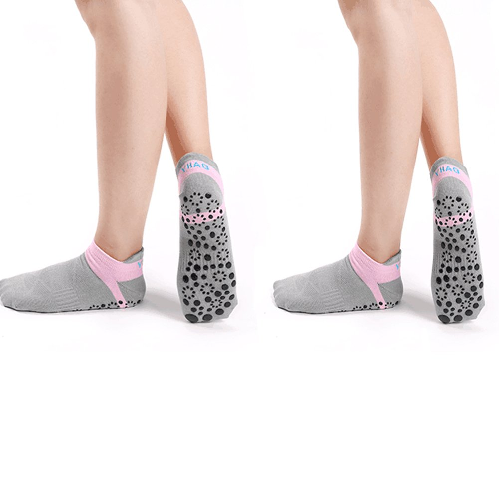 Yoga Socks Grippers Women Skid Socks - Elutong 2018 New Arrival Anti Skid Slip Pilates Barre Grip Socks (Grey+Grey) by Elutong