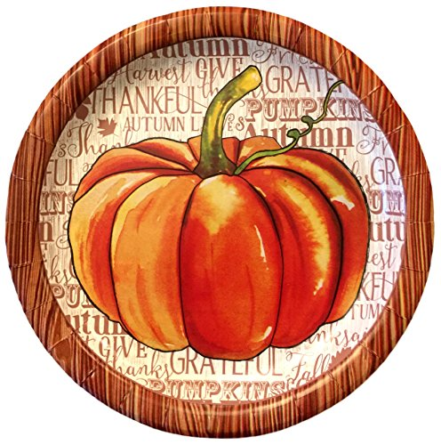 Fall Decoration Paper Plates with Watercolor Pumpkin Design 2 Packs of 18 each Perfect for Lunch, Dessert or Appetizers -