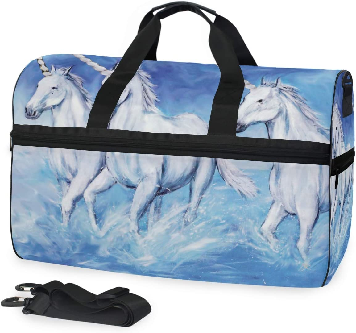 FANTAZIO Unicorn Horse Sports Bag Packable Travel Duffle Bag Lightweight Water Resistant Tear Resistant