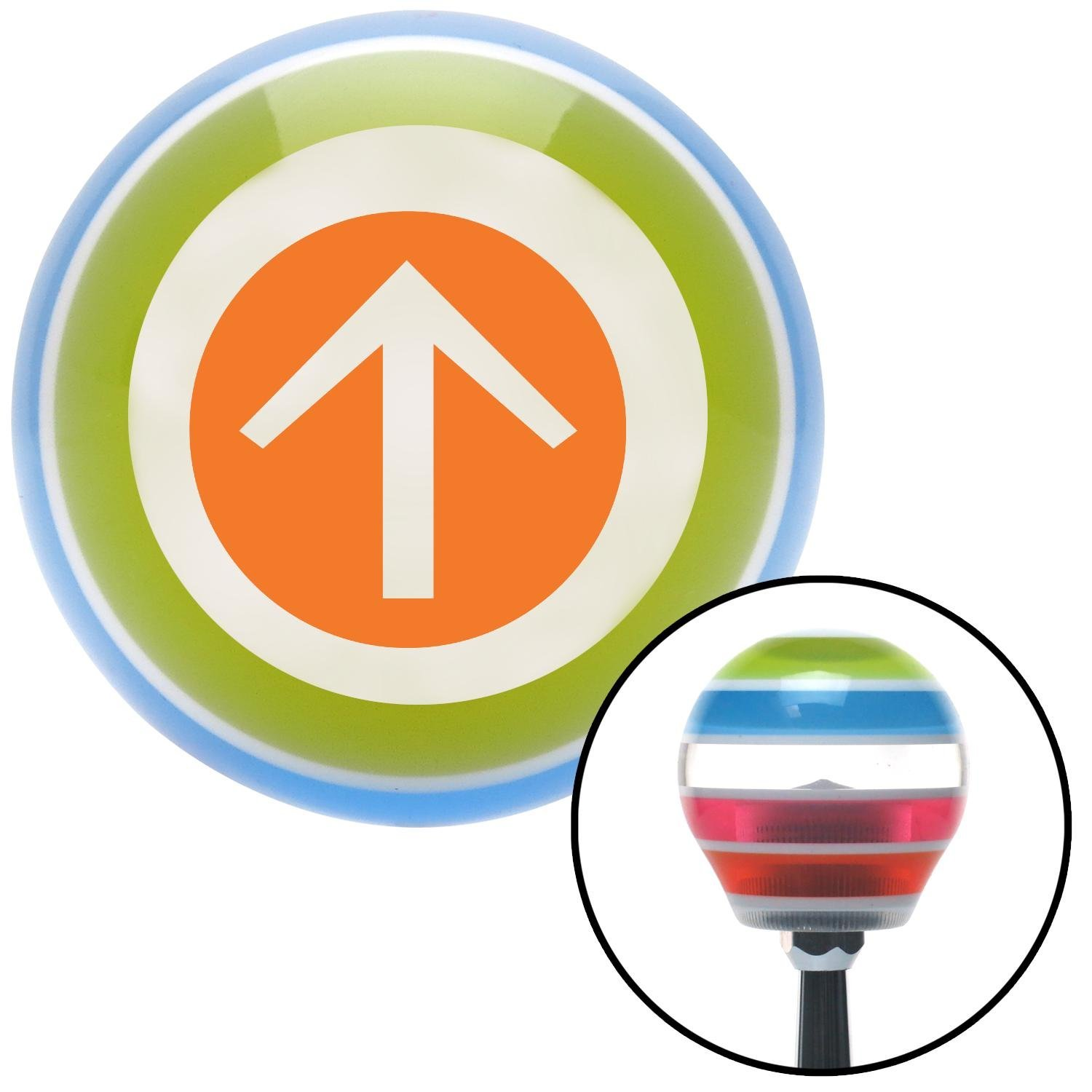 American Shifter 130909 Stripe Shift Knob with M16 x 1.5 Insert Orange Circle Directional Arrow Up