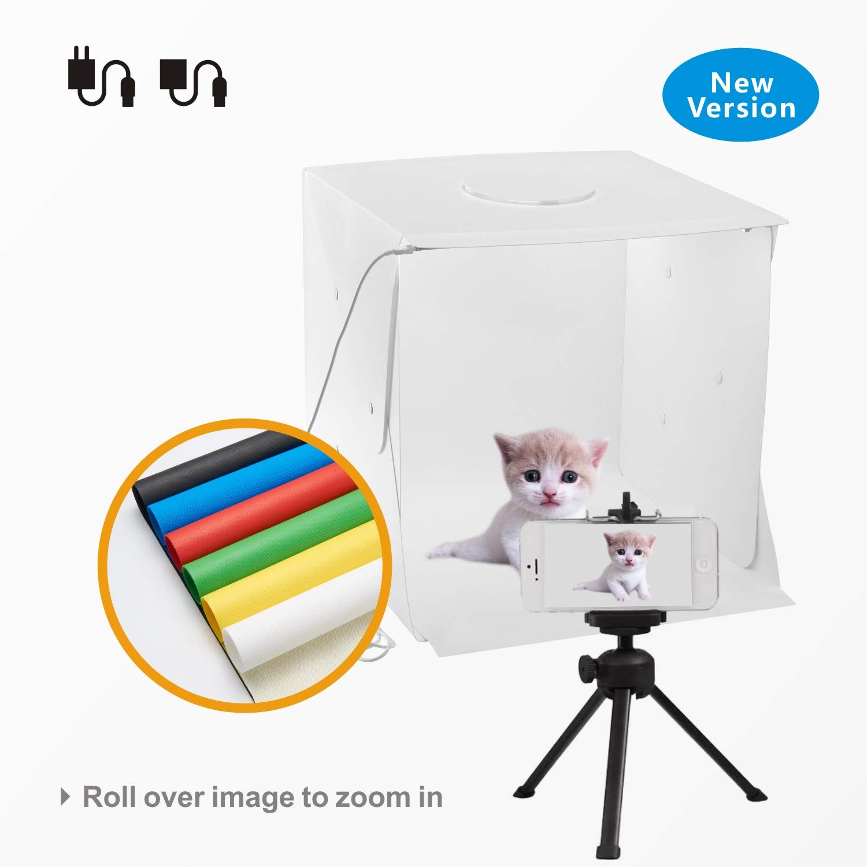 BABY PANDA New Version Portable Photo Studio Box 1616 Inch Dual LED Strips Six Color Non - Woven Backdrops Photography Shooting Tent by BABY PANDA