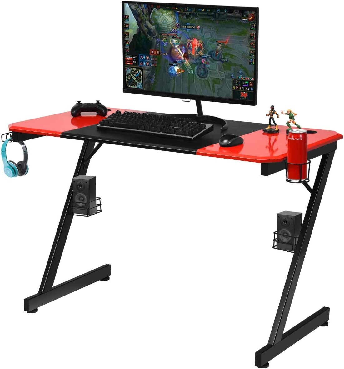 Tangkula 47 Inch Gaming Desk Computer Desk, Z-Shaped Professional Gamer Workstation with PVC Blow Molding Textured Surface, Gamer Table Desk w Cup Holder, Headphone Hook Audio Stands