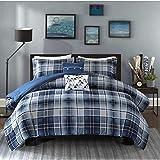 OSD 4pc Boys Classic Blue White Tartan Comforter Twin/Twin XL Set, Navy Lumberjack Pattern Madras Bedding Modern College Dorm Solid Color Cabin Lodge Southwest, Polyester