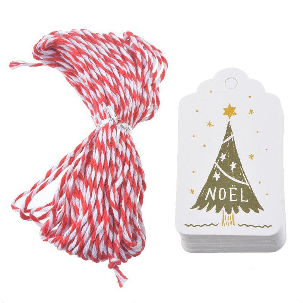 Youkara 50PCS etichette etichette regalo di Natale Merry Christmas con 32metri filo di cotone