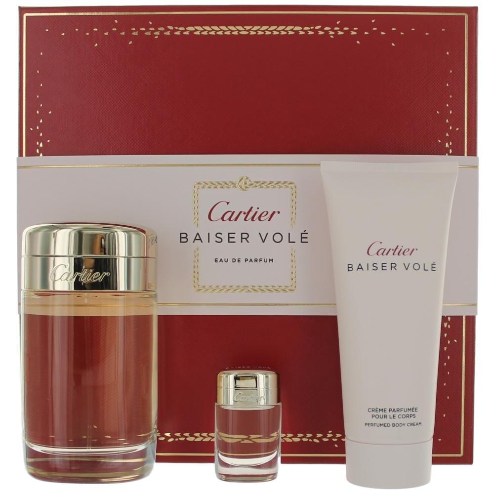 cartier baiser vole 3.4oz eau de parfume spray + 0.2oz eau de parfum miniature + body cream