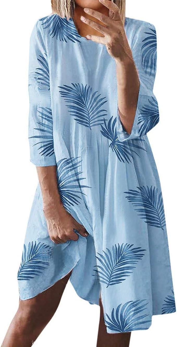 Tomwell Sommerkleid Damen Boho Kleider Casual A-Linie Rundhals 15/15-Arm  T-Shirt Kleider Elegant Knielang Blumen Strand Kleider Lose Tunika