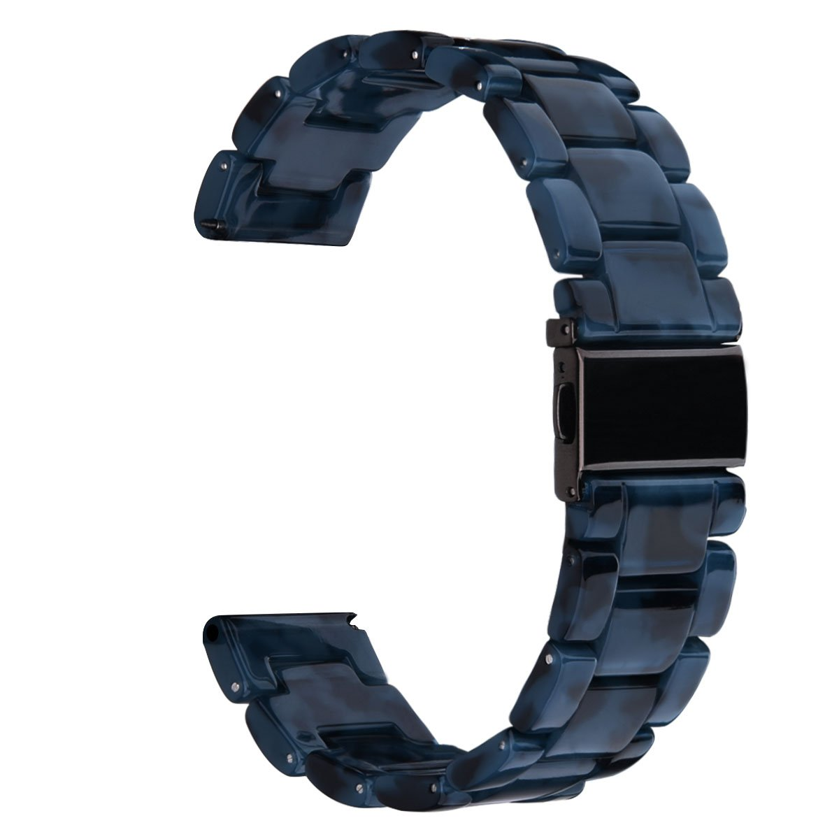CAGOS Compatible Samsung Galaxy Watch (46mm) Bands/Gear S3 Frontier/Classic Bands - 22mm Fashion Resin Bracelet Strap with Metal Stainless Steel Buckle Replacement for Gear S3 Smartwatch (Navy-Tone)