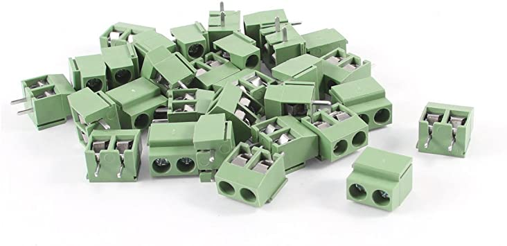 5 Pcs 300V 10A 2P Pin PCB Screw Terminal Block Connector 5mm Pitch Green