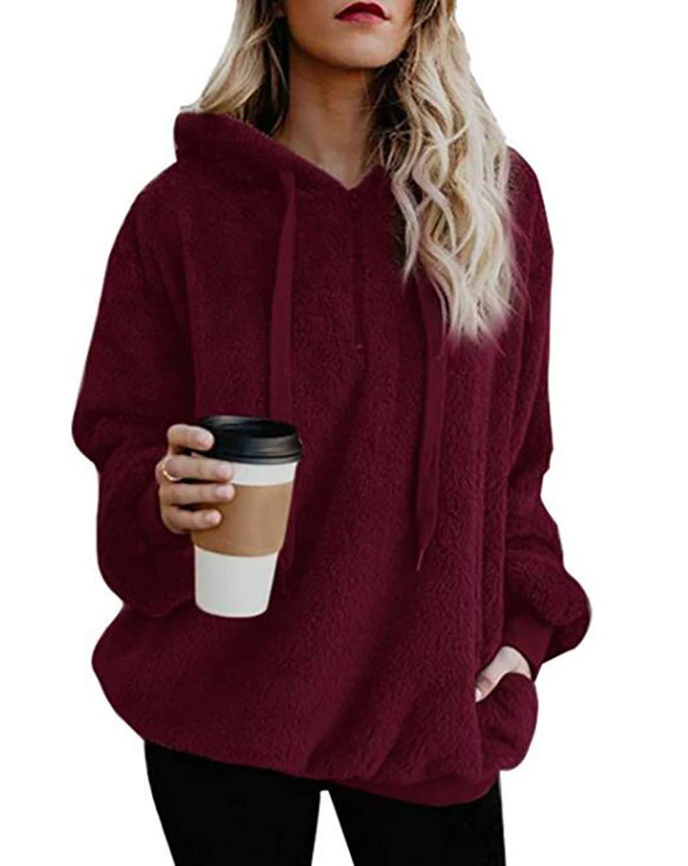 PRETTYGARDEN Women's Winter Long Sleeves 1/4 Zip Double Fuzzy Fleece Coat Oversized Hooded Pullover Sweatshirt Outwear with Pockets