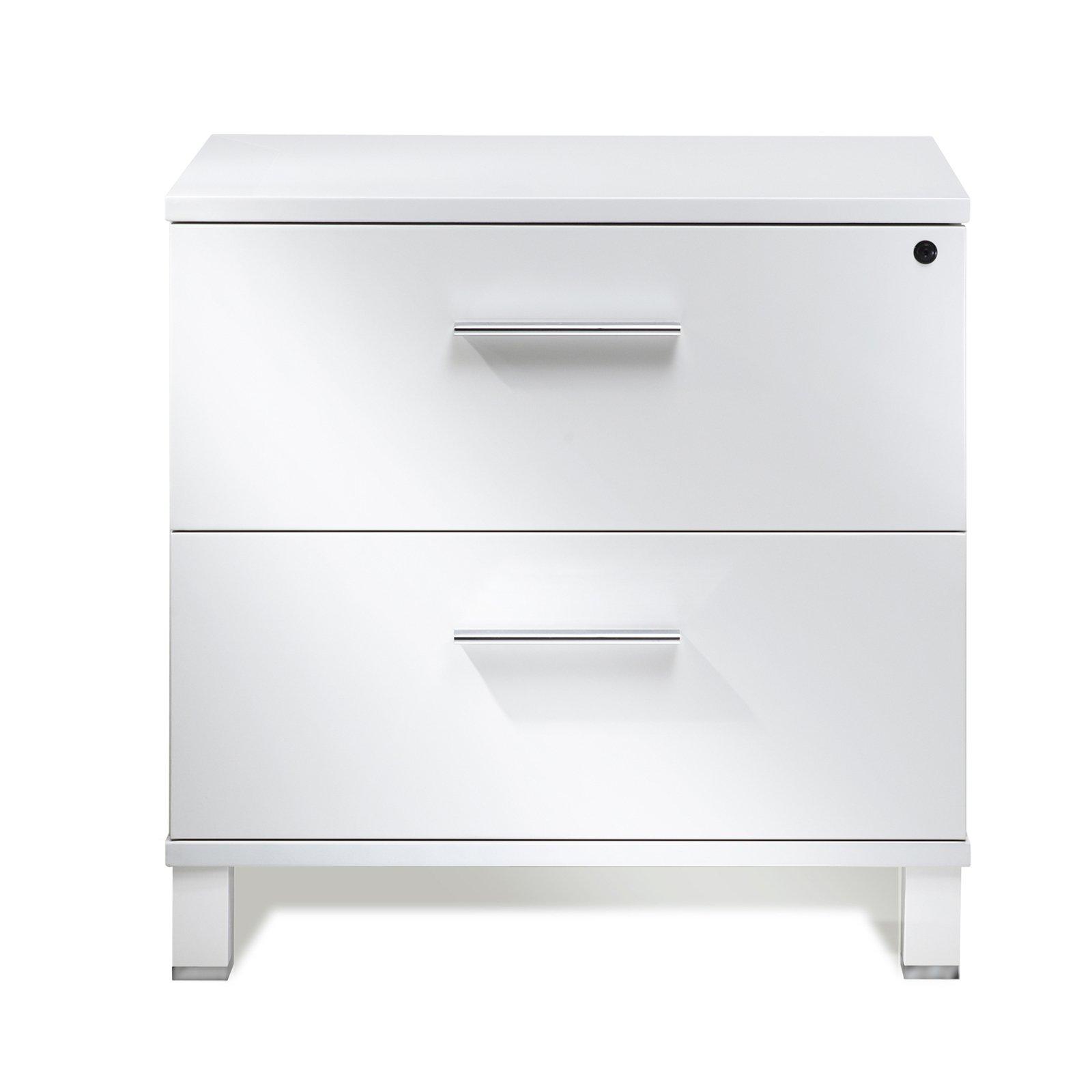 Unique Furniture 525-WH Lateral File Cabinet, White lacquer