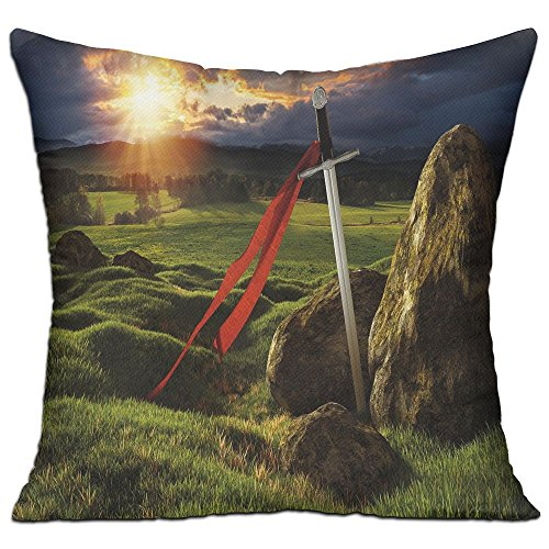 Too Suffering Arthur Camelot Legend Myth Soft Cotton Linen Square Throw Pillow 1818 Inch ()