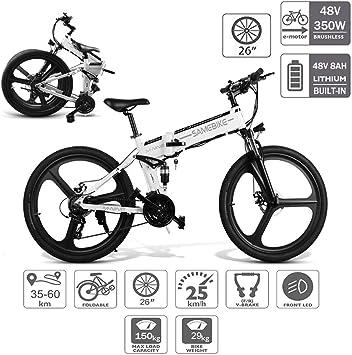 Bicicleta Eléctrica PLEGABLE 350W/500W 26 Pulgadas para Hombres ...