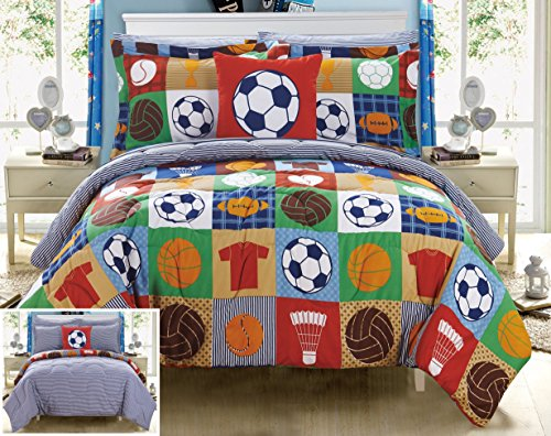Chic Home Shiloh 8 Piece Reversible Comforter Patchwork Print Athletic Youth Design Bed in a Bag-Sheet Set Decorative Pillow Shams Included Size, Full, Multi Color (Bed In A Bag Youth)