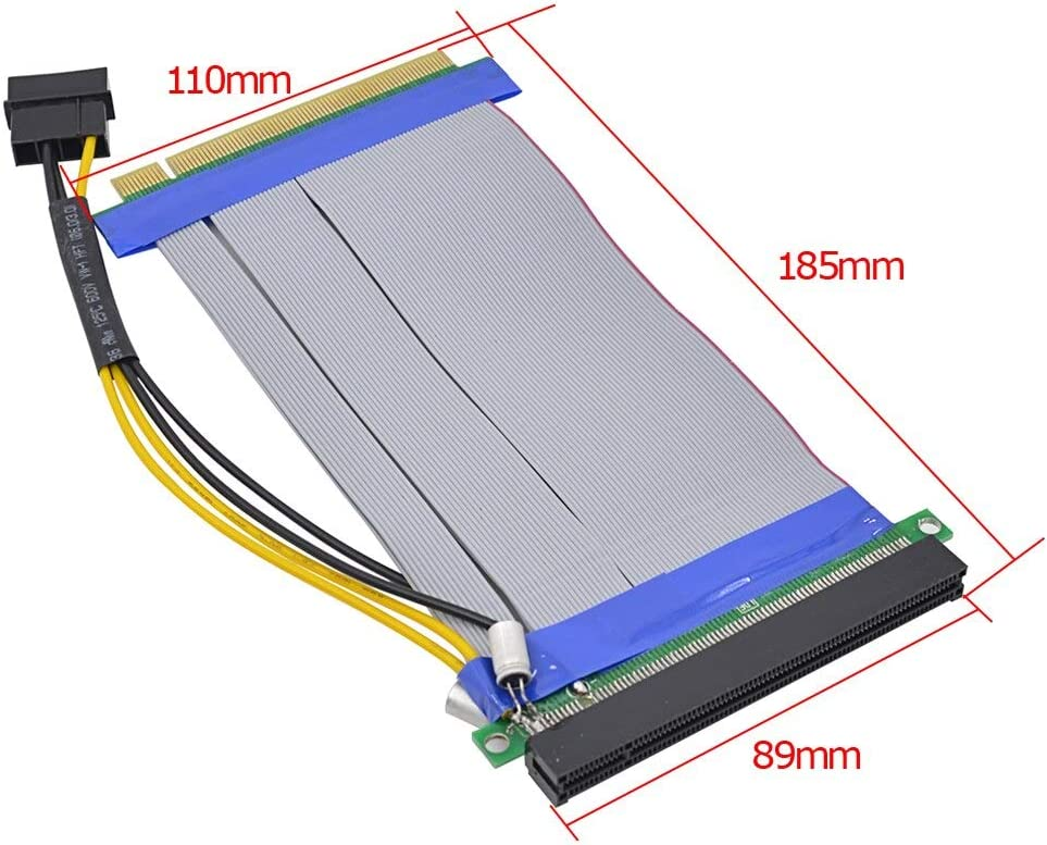 Cable Length: 0.2m Occus Cables 20pcs Flexible PCI-E 16X to 16X Riser Card Adapter Extender PCI-Express Extension Cable with Molex Power Supply for Bitcoin Mine