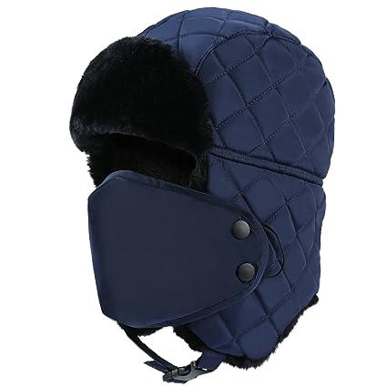 5b4f6821c4f Plizza Outdoor Winter Trooper Trapper Hat Hunting Cap Ushanka Russian Ear  Flap Chin Strap with Windproof