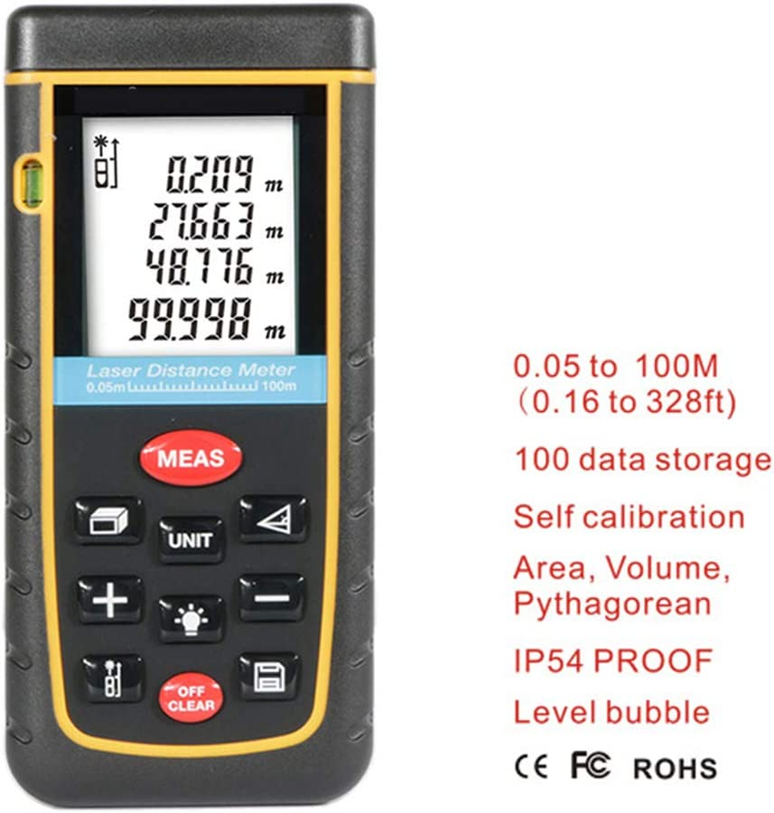 100m//328t H.L Laser Distance Meter with Bubble Level and Batteries IP54 Device Waterproof Volume Area Continuous Measurement Digital Tool Electronic Measurement