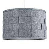 Large Modern Weave Design Drum Ceiling Pendant Light Shade in a Grey Felt F