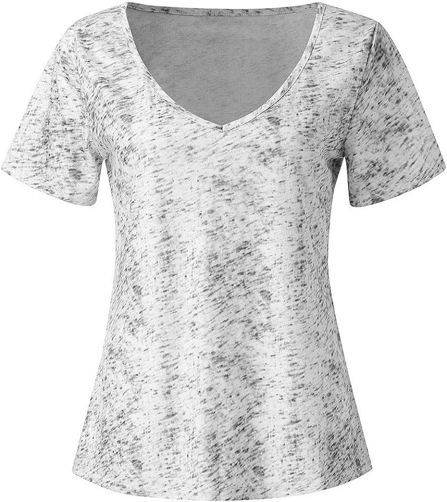 Camisas de Mangas Cortas Mujer Tallas Grandes Corta con V Blusa ...