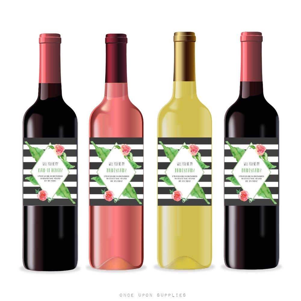 Will you ser mi dama propuesta etiquetas para botellas de vino y champán, Por Una Vez a suministros, moderno negro y blanco rayas, fotos con forma de ...