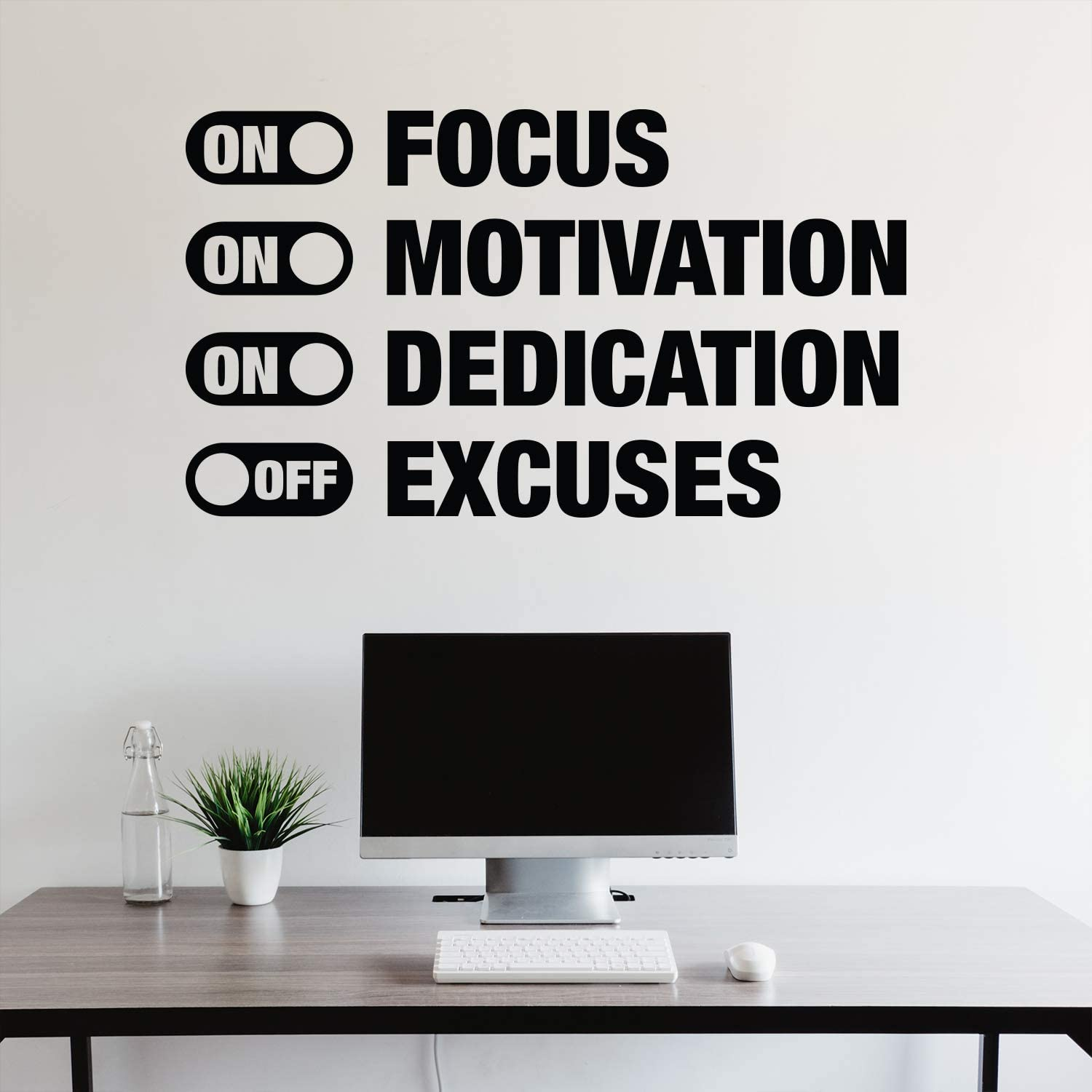 Vinyl Lettering Sticker Motivation Quote Fitness Saying Fitness Gym Training Vinyl Decal NO EXCUSES wall decal