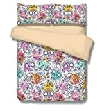 CocoQueen Day of the Dead Sugar Skull and Flowers Mexican Bedding 3pc Duvet Cover Sets Full Size