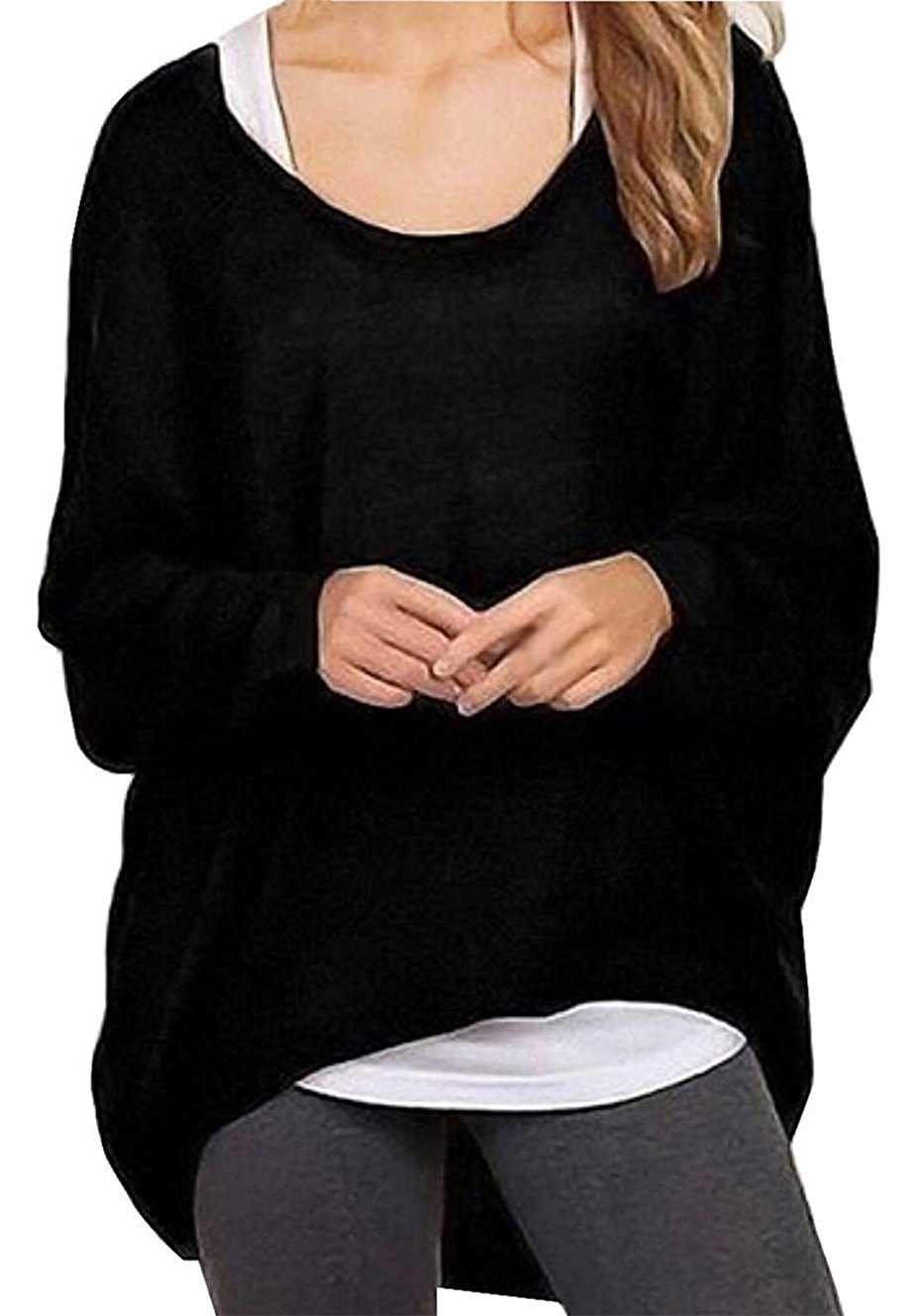 Guandiif Women Casual Baggy Tops Batwing Sleeve Shirts Loose Slouchy Pullover Blouse Sweater For Women Black L