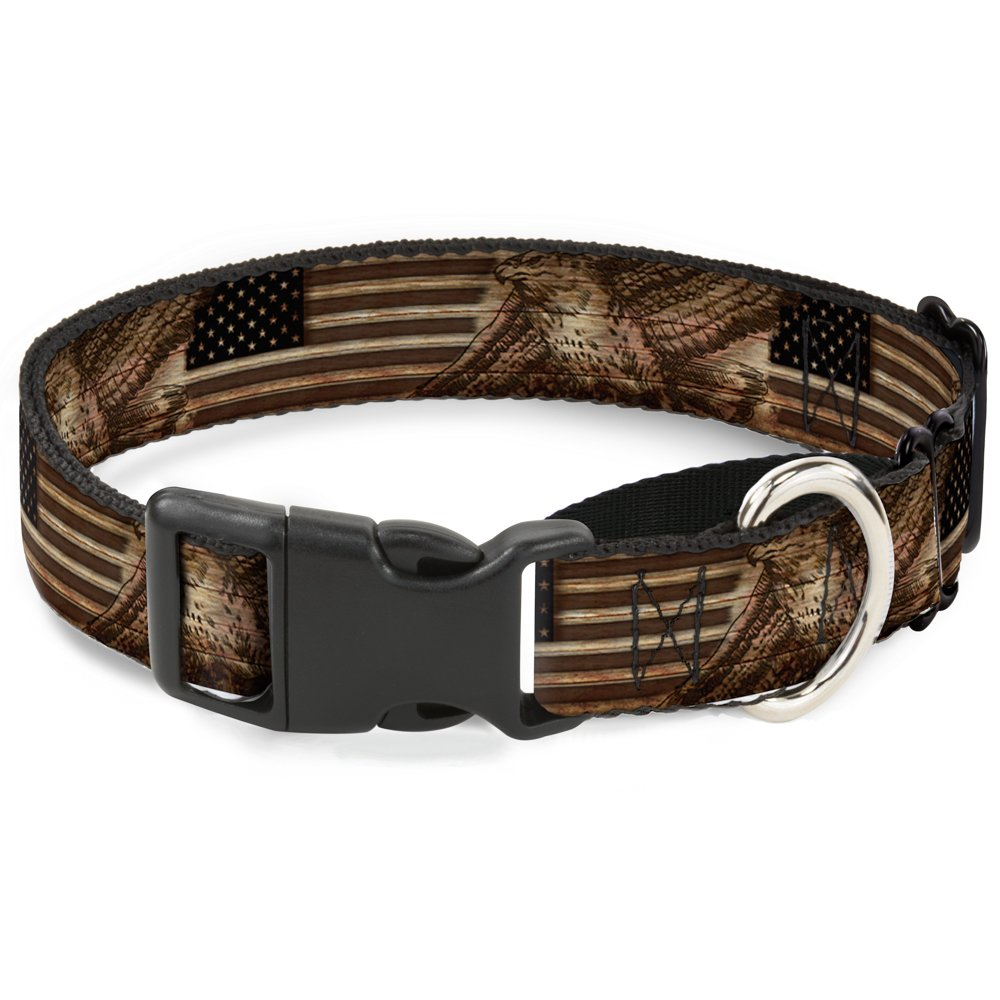 Buckle Down Americana Eagle & Flag Rustic Wood Grain Martingale Dog Collar, 1.5'' Wide-Fits 18-32'' Neck-Large