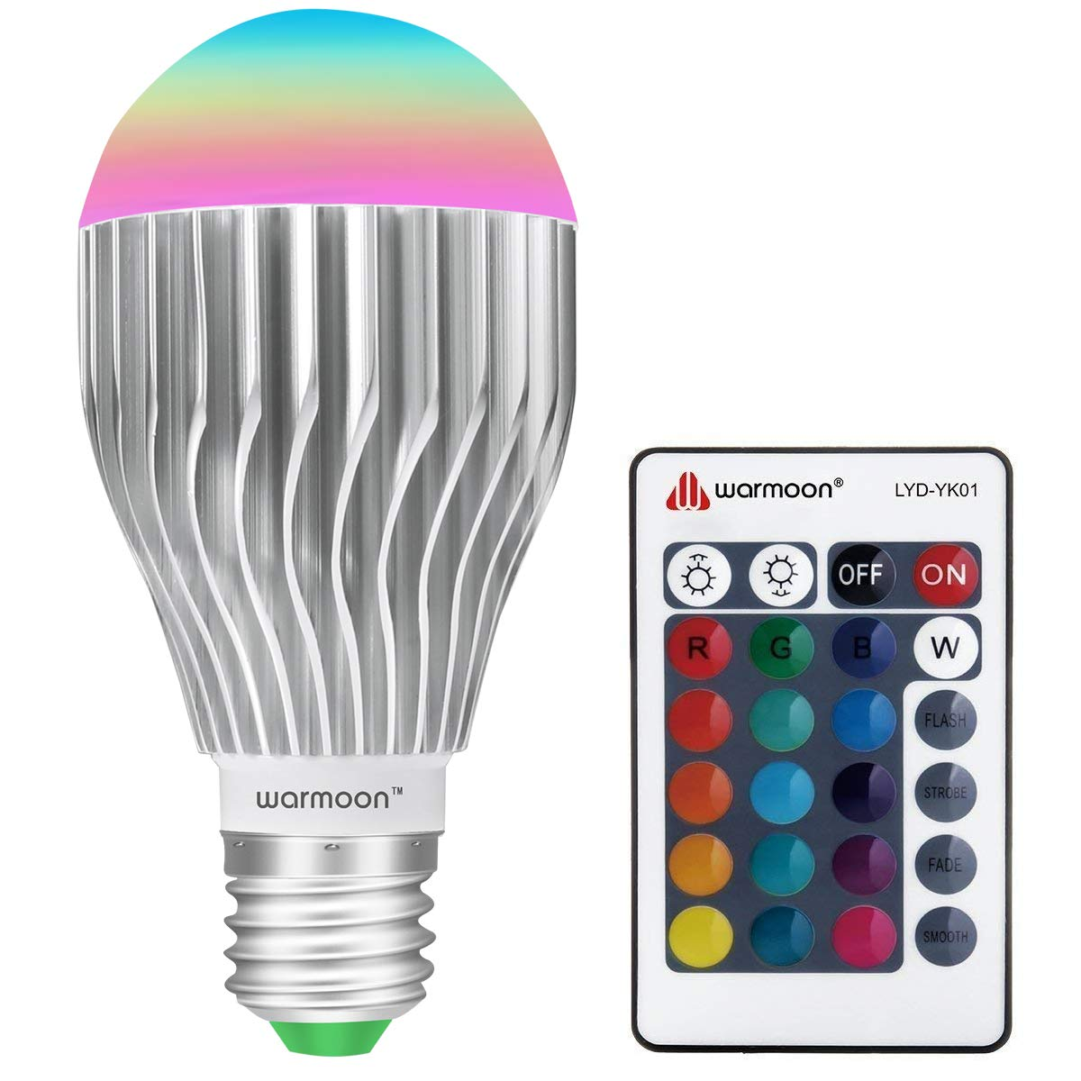 warmoon 002 E27 LED Bulbs Changing Lighting E26 Dimmable Colorful Lamp for Holiday, Atmosphere, Bar, Home Decor, 10W RGB