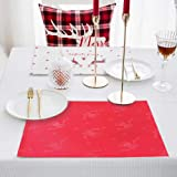 "Merryfeel Pacemats,13"" x 18"" Damask Jacquard Placemats, Set of 4,Red,Chirstmas Bells"