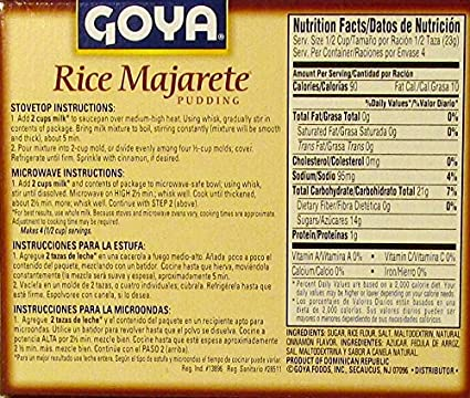 Amazon.com : Goya Rice Majarete Pudding 3.25 Oz (92g) Package (2 Pack) : Grocery & Gourmet Food