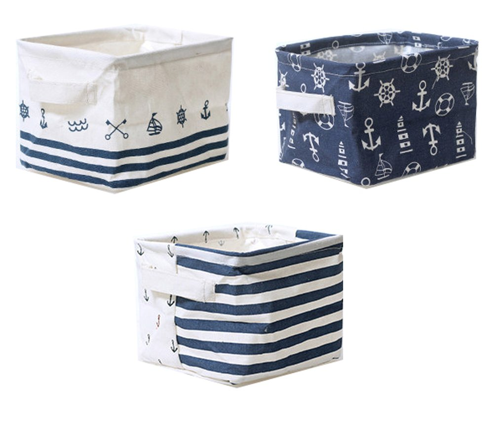 "Lannu Nautical Fabric Storage Baskets Bins Cloth Collapsible Organizers Box Beach Anchor Nursery Toys Basket Shelves & Desks Pack 3 - Cotton and Linen,with waterfproof PE inner to protect the storage basket from Moisture or water. Eco-friendly, Non-toxic and Durable.This cloth storage baskets bins Fit most of shelves or drawers, and you can just put them on your desk. Size(L*W*H):7.5""*6""*5.5"". Navy Style, Classic Anchor and Stripes. With these modern and fashion storage bins baskets, no more clutters and messes in any corner of your room - living-room-decor, living-room, baskets-storage - 61DAwPaNiCL -"