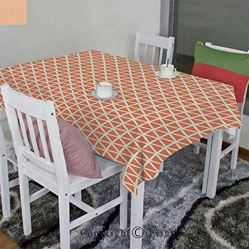 - AngelSept Wrinkle Free Anti-Fading Tablecloth Velour Hemps by Groovy Soft Toned Vintage Stylized Geometric Triangles Skewed Squares Tile Decorative(60