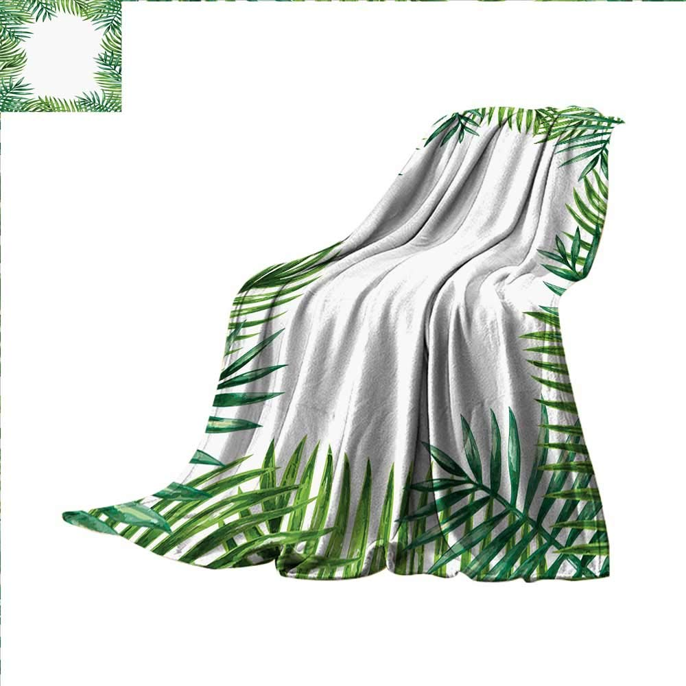 小さな緑の葉 暖かいマイクロファイバー オールシーズンブランケット エキゾチックパターン トロピカルリーフ フレッシュジャングル アロハ ハワイプリント アートワーク イメージ ファーニンググリーン アップル グリーン ベージュ 80