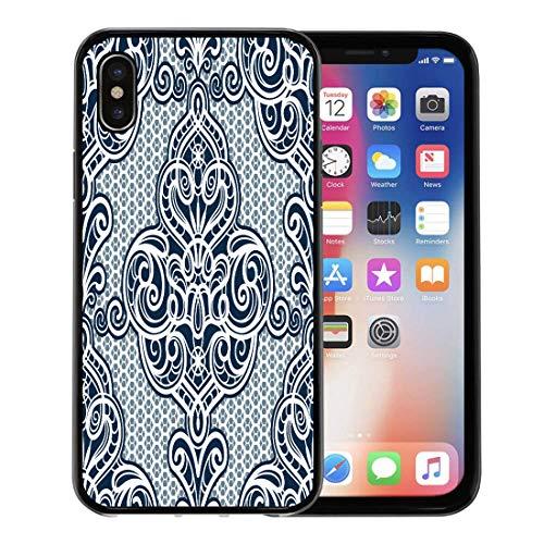 Emvency Phone Case for Apple iPhone Xs Case/iPhone X Case,Pattern Blue Floral Vintage Ornamental Lace Damask White Baroque Soft Rubber Border Decorative, Black