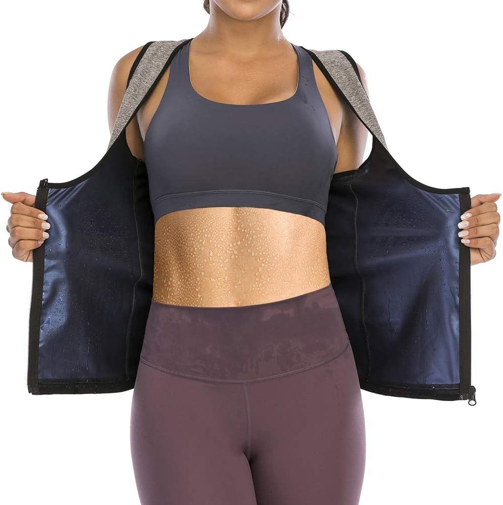 HOMETA Sauna Suit Sweat Vest for Women Waist Trainer Vest Zipper Polymer Sweat Tank Top Body Shaper Workout Shirt