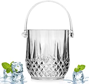 IC&EO Crystal Ice Bucket, Portable Acrylic Ice Wine Container Bar Cart Beverage Bucket Wine Chiller Cooler for Parties Gatherings Bar-Clear 1.3l