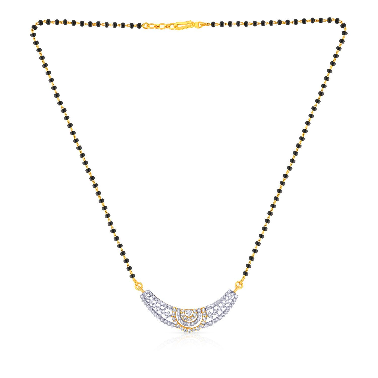 8bf4fd37c Buy Malabar Gold and Diamonds Mine Collection 18k (750) Yellow Gold and  Diamond Mangalsutra Necklace Online at Low Prices in India | Amazon  Jewellery Store ...