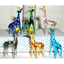 Giraffe Artglass 1 inch MINI sized Figurines assorted colors 6 Pc. BOX LOT