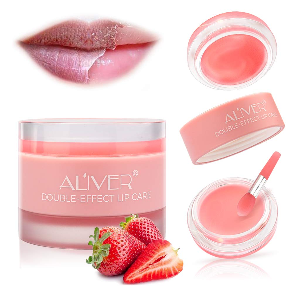 Lip Scrub Mask, Lip Sleeping Mask with Double Effect, Repair Lip Mask for Dry, Cracked Lips, Lip Moisturizer for Lip Treatment Care, Lip Repair Balm (Strawberry)