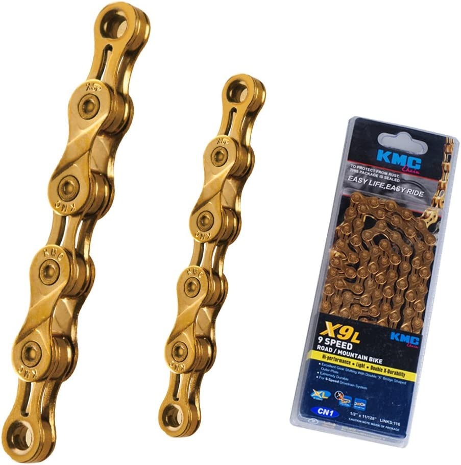 9 Speed 116 Links Ti Nitride Gold KMC X9SL Chain