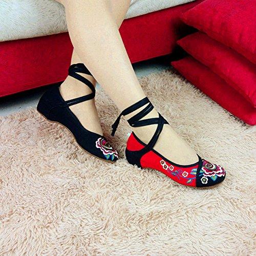 Mary Mocassins Pantoufles Noire B Xfentech Jane Fleur Low Style Chaussures Mode féminine Ethnique YwqBEH