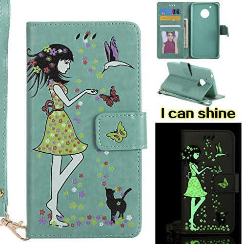 Price comparison product image Moto G5 Case, Ranyi [Glow/Shine/illuminate Wallet] [Glow at Night] [with Wrist Strap] Cute Flip PU Leather Magnetic Wallet Case for Motorola Moto G5 / Moto G (5th Generation), green