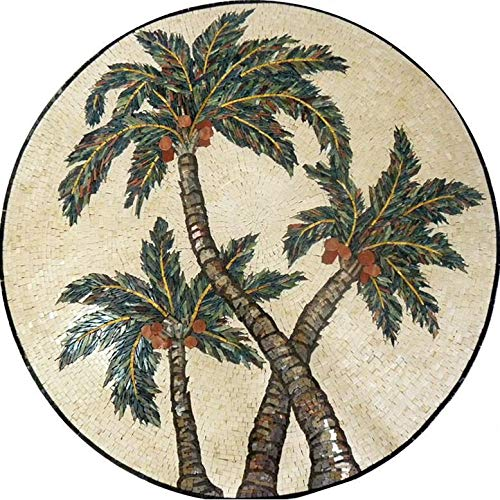 Medallion Mosaic Art - Intertwining Palms | Mosaic Designs | Mosaic Artwork | Mosaic Wall Art Floor Inlay By Mozaico | Handmade Mosaics | 24