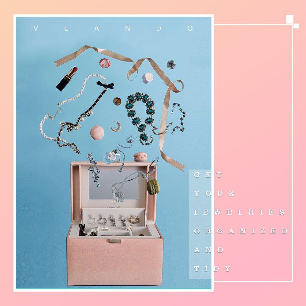 Vlando Jewelry Box, Faux Leather Medium Jewelry Organizer, Vintage gift for Women -Pink-Cross Pattern by Vlando (Image #3)