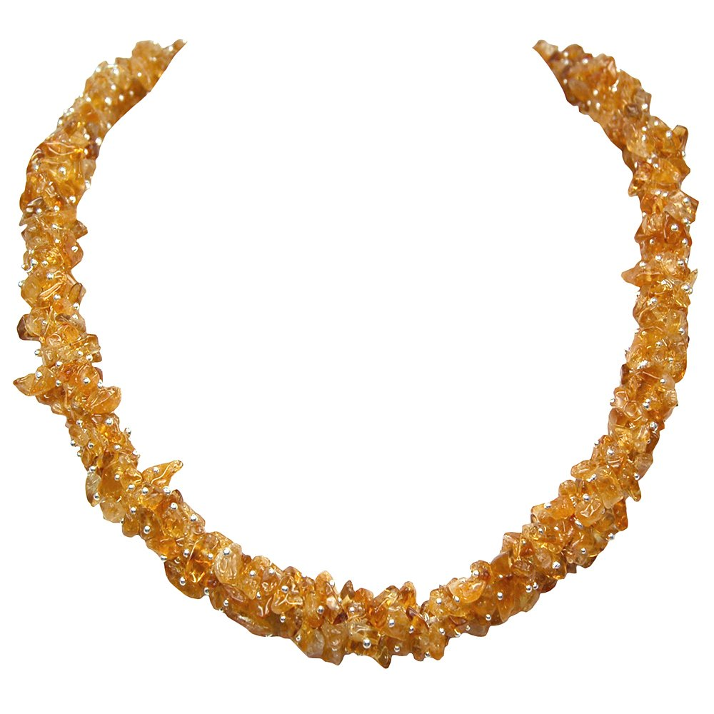 Citrine Cluster Necklace (India) (24'') w/Clasp - 1pc.