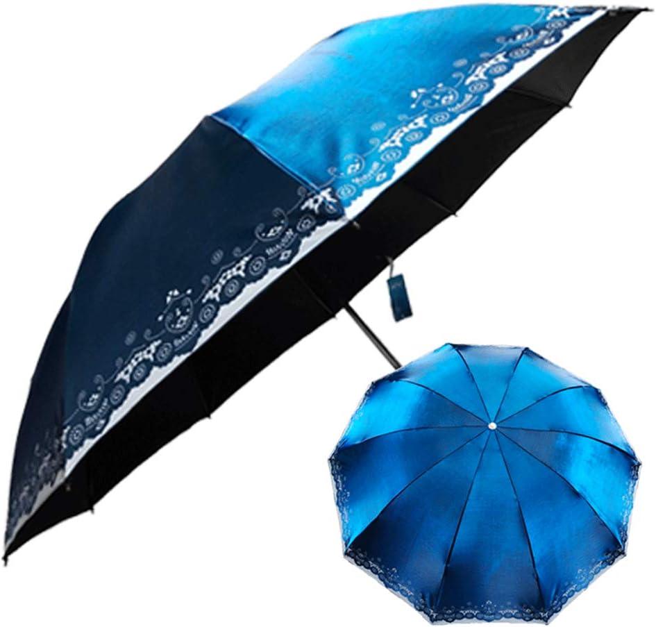 Comeyang Paraguas Compacto y a Prueba de Viento Que Abre y Cierra automáticamente el Paraguas Plegable,Color del apagón Completo Intermitente Paraguas plástico tríptico Negro Paraguas colour4 110cm: Amazon.es: Hogar
