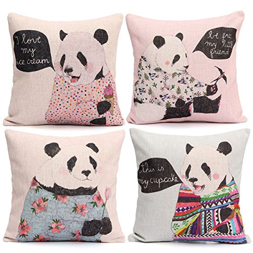 Cotton Linen Cute Panda Pillow Case Sofa Bed Cushion Cover(Random: Pattern)