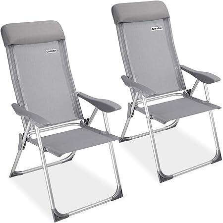 Casaria Set de 2 sillas plegables de Aluminio con respaldo alto reclinable transpirable para jardín balcón terraza exterior: Amazon.es: Hogar